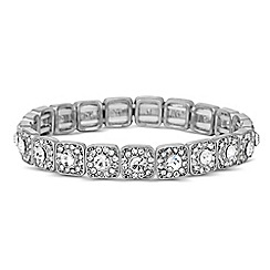 Jon Richard - Clear square crystal surround stretch bracelet