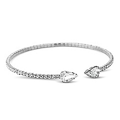 Jon Richard - Diamante crystal and silver peardrop tip bracelet