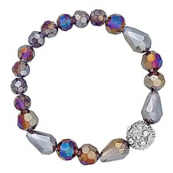 Jon Richard - Grey facet bead and crystal ball stretch bracelet
