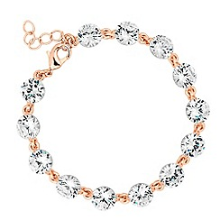 Jon Richard - Rose gold cubic zirconia link bracelet