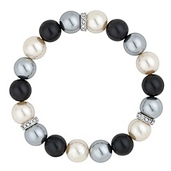 Jon Richard - Graduated triple tone pearl and crystal silver disc stretch bracelet