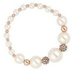 Jon Richard - Rose gold ball and cream pearl stretch bracelet
