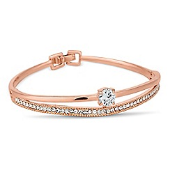 Jon Richard - Rose gold cubic zirconia and crystal embellished bangle