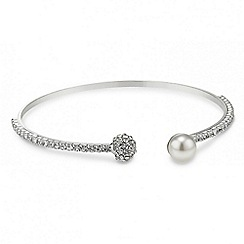 Jon Richard - Open diamante crystal pearl bangle