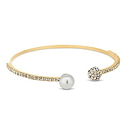Jon Richard - Pearl and crystal embellished gold ball bangle