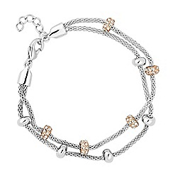 Jon Richard - Polished and crystal disc multi row bracelet