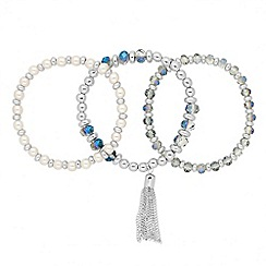 Jon Richard - Pearl and blue facet bead trio bracelet set