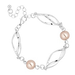 Jon Richard - Blush pink pearl and metal link bracelet