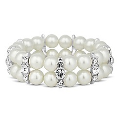 Jon Richard - Cream pearl and crystal bar double row stretch bracelet