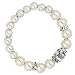 Jon Richard - Cream pearl and crystal barrel stretch bracelet