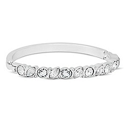 Jon Richard - Circular crystal and navette stone polished bangle MADE WITH SWAROVSKI CRYSTALS