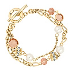 Jon Richard - Pink glass bead and pearl multi row bracelet