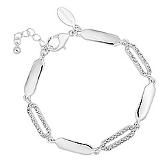 Jon Richard - Polished and crystal embellished angular link bracelet