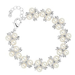 Alan Hannah Devoted - Designer trio pearl and crystal spray link bracelet