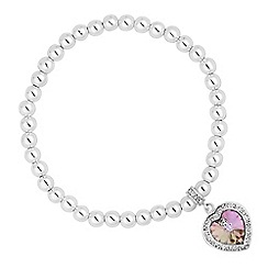 Jon Richard - Pink crystal heart surround drop stretch bracelet MADE WITH SWAROVSKI CRYSTALS
