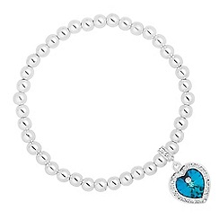 Jon Richard - Bermuda blue crystal heart surround drop stretch bracelet MADE WITH SWAROVSKI CRYSTALS