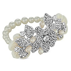 Alan Hannah Devoted - Designer primrose silk flower and pave leaf stretch bracelet