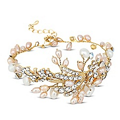Alan Hannah Devoted - Designer dahlia freshwater pearl and opal crystal bracelet