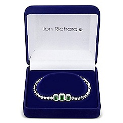 Jon Richard - Green cubic zirconia graduated square bracelet