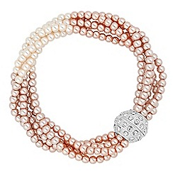 Jon Richard - Two tone blush pearl twist magnetic bracelet