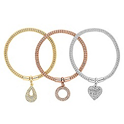 Jon Richard - Set of three charm drop mesh stretch bracelets