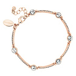 Jon Richard - Round crystal and embellished rose gold bar bracelet
