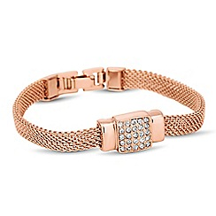 Jon Richard - Rose gold crystal square mesh chain bracelet
