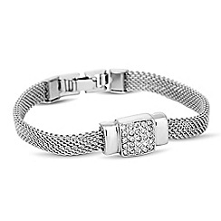 Jon Richard - Silver crystal square mesh chain bracelet