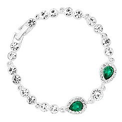 Jon Richard - Emerald crystal tennis bracelet with peardrop stations