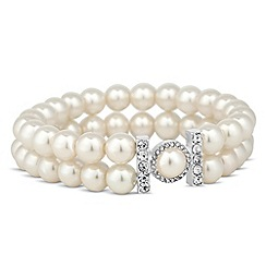 Jon Richard - Pearl encased crystal bar double row stretch bracelet