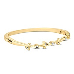 Jon Richard - Crystal embellished trailing leaf gold bangle