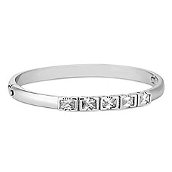 Jon Richard - Silver cubic zirconia square encased bar bangle