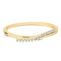 Jon Richard - Polished gold and cubic zirconia twist bangle