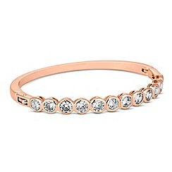 Jon Richard - Round cubic zirconia encased rose gold bangle