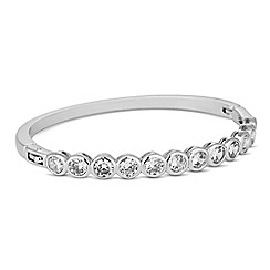 Jon Richard - Round cubic zirconia encased silver bangle