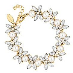 Jon Richard - Pearl and crystal navette floral link bracelet