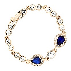 Jon Richard - Blue crystal tennis bracelet with peardrop stations