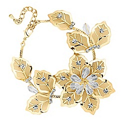 Jon Richard - Gold crystal mesh flower link bracelet