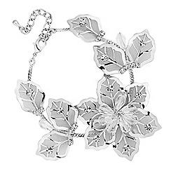 Jon Richard - Silver crystal mesh flower bracelet