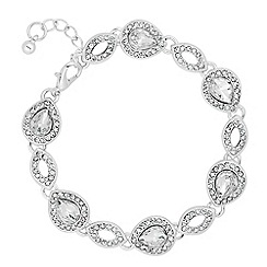 Alan Hannah Devoted - Designer peardrop crystal surround link bracelet