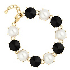 Jon Richard - Round jet disc and pearl link bracelet