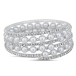Jon Richard - Pearl and diamante crystal coil bracelet