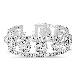 Jon Richard - Diamante crystal floral set cuff bangle