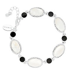 Jon Richard - Round jet and mother of pearl oval link bracelet