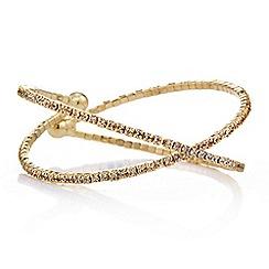Jon Richard - Gold diamante crystal cross over cuff