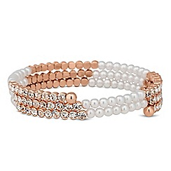 Jon Richard - Rose gold crystal and pearl coil twist bracelet