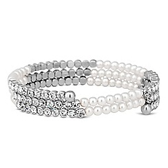 Jon Richard - Silver crystal and pearl coil twist bracelet