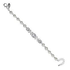 Jon Richard - Cubic zirconia silver flower and pearl bracelet