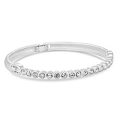 Jon Richard - Silver crystal row hinged bangle