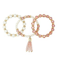Jon Richard - Pearl and bead stretch tassel bracelet set
